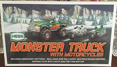 2007 Hess Monster Truck w/ 2 Motorcycles;  New in box.