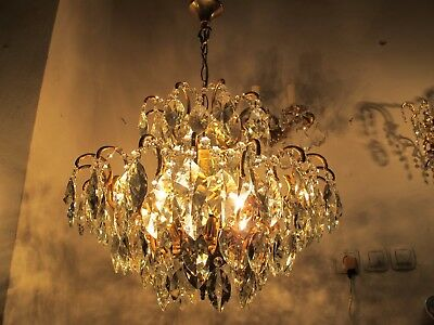Antique Vnt French HUGE Spider Style Crystal Chandelier Lamp 1940's 22in Width *
