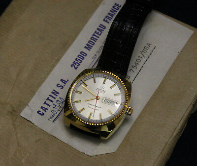 Vintage 1980's Cattin Mortima Day Date Watch NOS