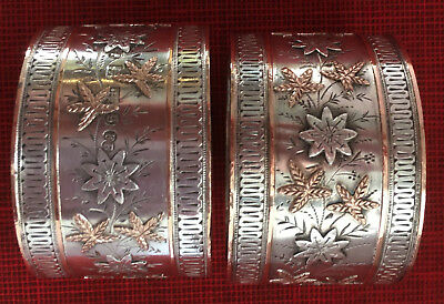 ORNATE Sterling Silver 14K Gold Engraved VICTORIAN NAPKIN RINGS 1881 mixed metal