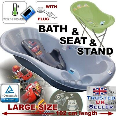 SET LARGE 102cm length Baby Bath Tub with STAND + seat cars & THERMOMETHER&DRAIN