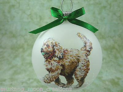 D043 Hand-made Christmas Ornament dog- goldendoodle labradoodle -  play ball