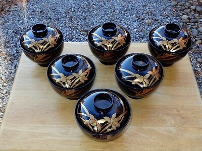 Beautiful VINTAGE Set of 6 Japanese Lacquer Miso Soup Bowls