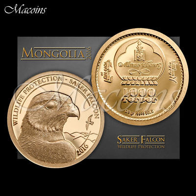 FALCON WILDLIFE PROTECTION 2016 1/2GRAM 9999 PURE GOLD PROOF see photo's
