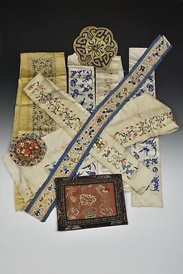 Lot Antique Chinese Embroidered Textiles Embroidery Fragments Forbidden Stitch