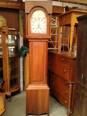 Antique Grandfather Tall Cherry Case Clock Circa 1880