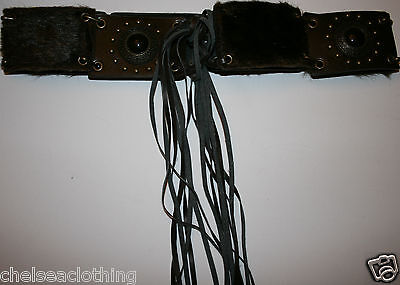"""NEW Narajo Faux-Fur Brown Leather Belt 90cm/W36"""" Stone Studs Tie Native American"""