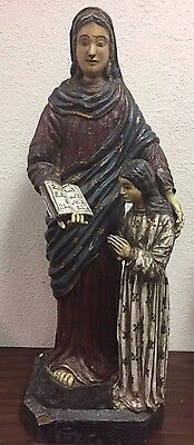 "Portuguese 1850's Santos Hand Carved Wood Mother and Child Approx. 35"" tall"