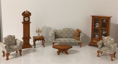Vintage Handmade Wooden Doll Hause Furniture With Properties & Porcelain Dishes