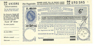 British Postal Order QEII 6d overprinted ST.HELENA issued ASCENSION 1961
