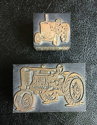 Vtg LOT Farmall Tractor - Antique Steel Wheel Advertising Printing Print Block