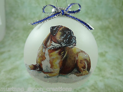 D027 Hand-made Christmas Ornament dog - Boxer - fawn laying
