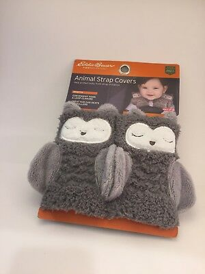 Eddie Bauer Baby Animal Strap Covers Owls Infant Car Seat Pads NEW - SO CUTE!!