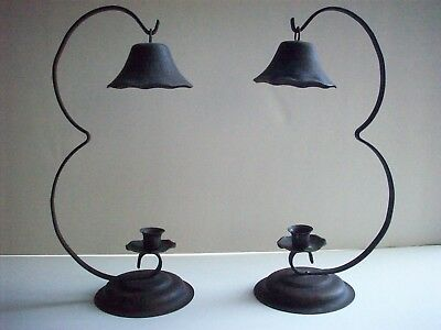 """Antique/Primitive Style Wrought Iron Candle Holders, 13"""" tall"""