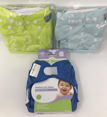 Bumgenius Freetime (1) Alva Baby (2) Cloth Diaper Nappy One Size - Ships Free