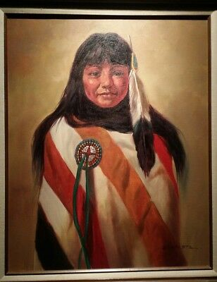 Severo Zavaleta Native American Original Oil Canvas Painting 24x30 vintage old