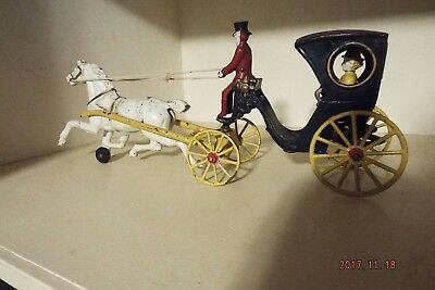 Vintage Hansom Cab with Cast Iron Figures & Horse