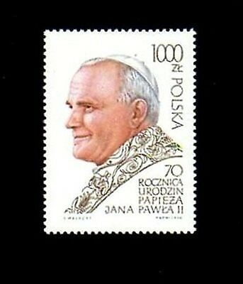 POLAND - 1990 - POPE JOHN PAUL II -  70th BIRTHDAY - MINT - MNH SINGLE!