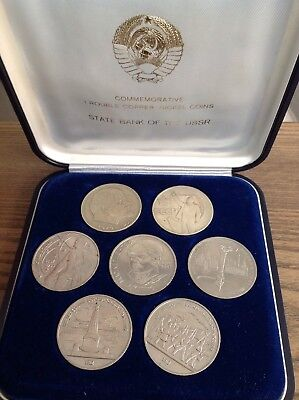 Commemorative 1 Rouble Coin Set Issued By State Bank of the USSR In Velvet Box