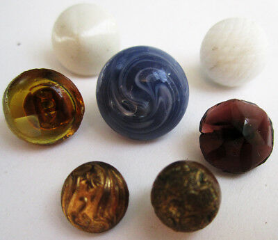 Antique Buttons,Lot of 7 Charmstring,Glass,Brass,Milkglass,Swirl,Vintage Sewing