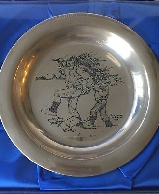 """Norman Rockwell """"Bringing Home The Tree"""" Silver Christmas Plate NIB!"""