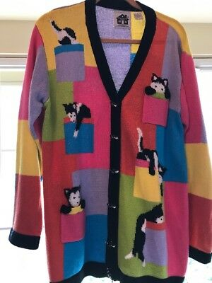 Storybook Knits Sweater Cats Multi-Color Black&White Cats Cardigan  Size M