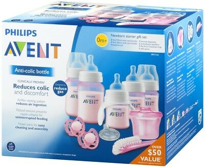 Philips Avent Newborn Starter Gift Set Kit Baby Bottle Pacifier Brush Sispenser