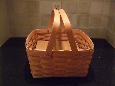 Longaberger 2-Pie Basket, Double-Handled with Riser