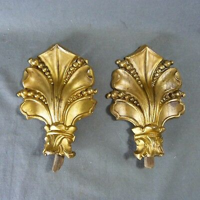 Pair of Antique French Gilded Brass Ornament Curtain Tie Backs Hooks Lily
