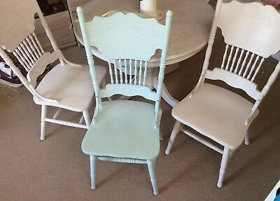 Real Solid Wood Dining Table And Chairs Mahogany Very Heavy Shabby Chic Style