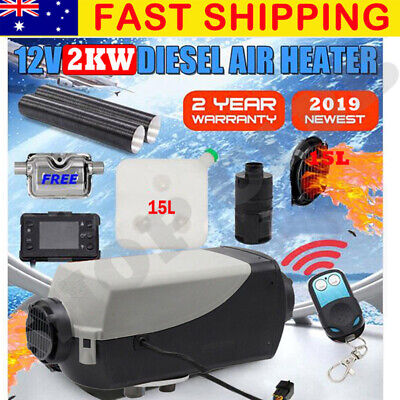 2019 12V 2KW Diesel Air Heater Tank Digital Thermostat Silencer T-Piece Remote