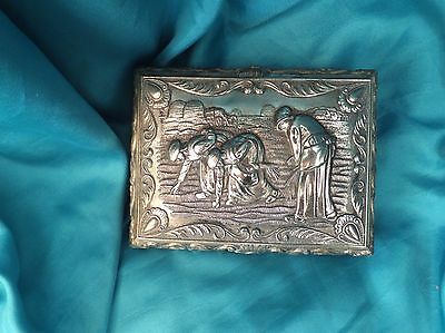 Antique Silver plate Jewellery Box Artist Millais Image The Gleaners Top Swan mk