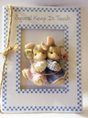 Enesco Show Sample 1996 This Little Piggy Pig Squeal Keep In Touch Lapel Pin HTF