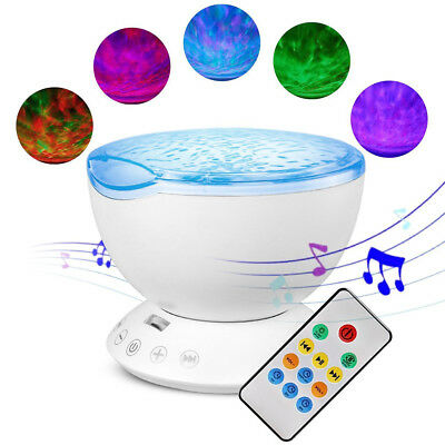 Baby Cot Ocean Wave LED Projector Night Light Music Relaxing Remote Lamp Gift