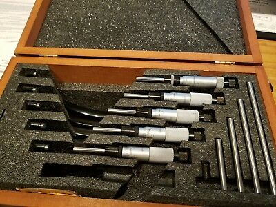 "STARRETT MICROMETER SET 1""-6"" WITH CARBIDE TIPS and no engravings"