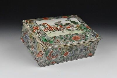 19th Century Chinese Famille Verte Covered Box w/ Foo Dog, Butterflies & Flowers