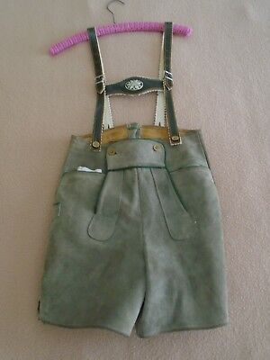 German Lederhosen Leather Suede Child's Grey Shorts With Suspenders