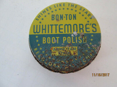 Bon-Ton Whittemore's Boot Polish-Army Tan Stain~Tin Can~Cambridge Mass. (#1811)