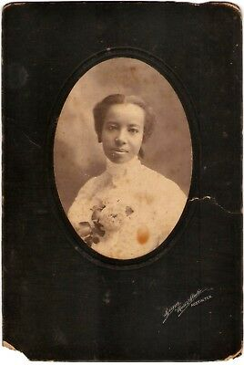 African American Girl with Flowers Cabinet Card Berner Marks Studio Austin TX