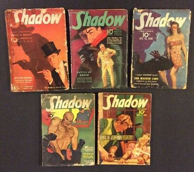 Vintage THE SHADOW Pulp Magazines Original Lot of 5 READERS 1939 Street & Smith
