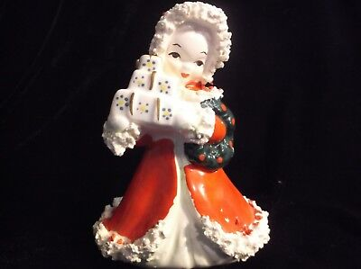 VINTAGE NAPCO CHRISTMAS ANGEL GIRL FIGURINE SPAGHETTI TRIM Spaghetti Angel