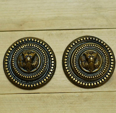 Lot of 2 pcs Vintage Dog Doggy Face Round Key Hole Antique Solid Brass