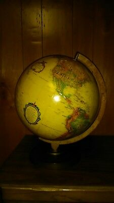 "Replogle 12""World Globe Classic Wood Brass Base Stand - USA Made"