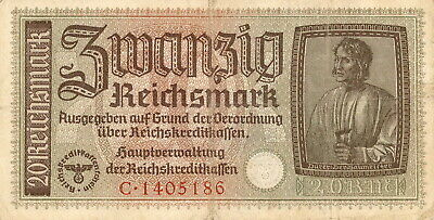 Currency Germany 1942 WW2 Wehrmacht Fascism War Era Eine 1 Blue Uncirculated