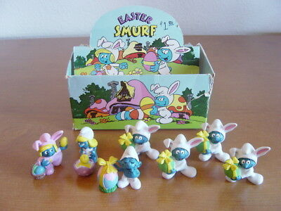 1982 Easter Smurfs Dealer Display box + 7 Easter Smurfs. Schleich Peyo.