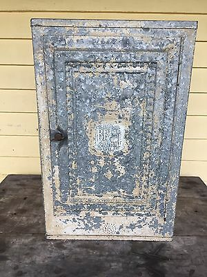 """Large Vintage Tin Galvanized Bread and Cake Safe early 1900's, """"Home Comfort"""""""