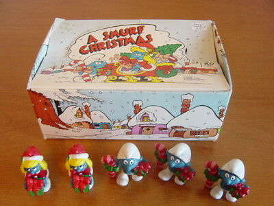 1983 Christmas Smurfs Dealer Display box + 5 Smurfs. Schleich Peyo.