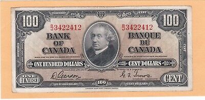 1937 Canada    $100.00 Bank Of Canada Note In Vf Condition