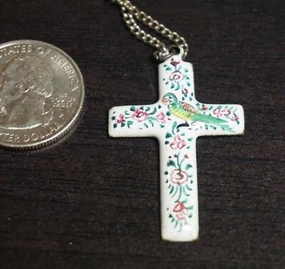 """Vintage Antique Silver Persian Metal CROSS Hand Painted Pendant 16"""" Chain  A42"""