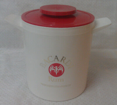 BACARDI Rum ice bucket with lid , with bat logo on both sides